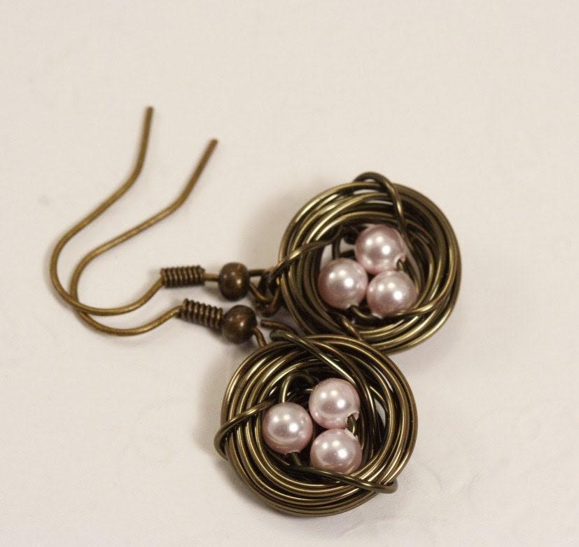 Pale Pink Birds Nest Earrings in Antique Brass