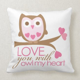 Love you with OWL my heart throwpillow
