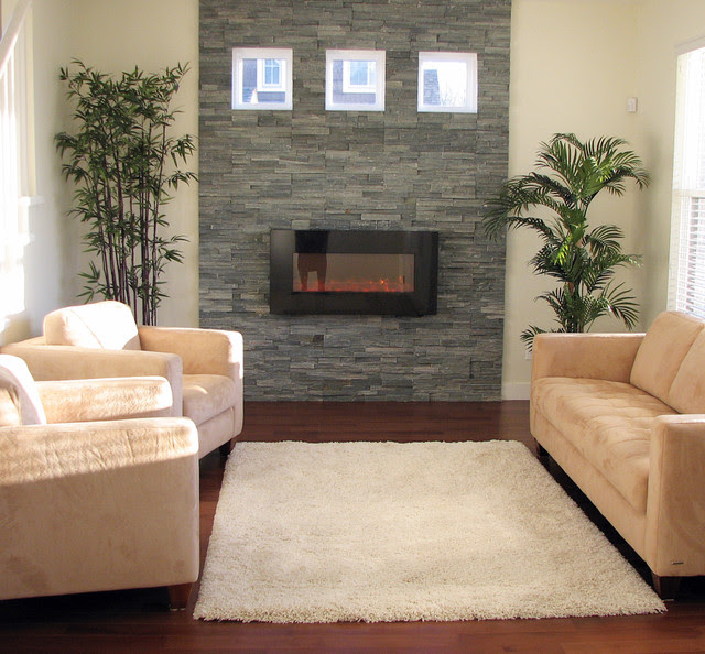 Stacked Stone Fireplace with Natural Light - contemporary - living ...