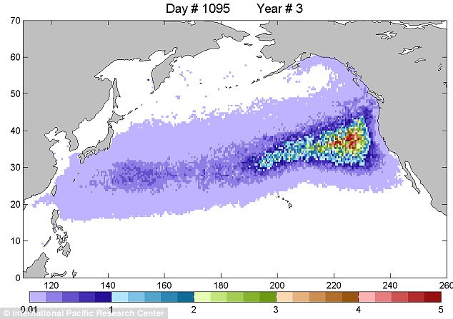 In three years time the debris field will have reached the U.S. West Coast and will then turn toward Hawaii and back again toward Asia, circulating in what is known as the North Pacific gyre