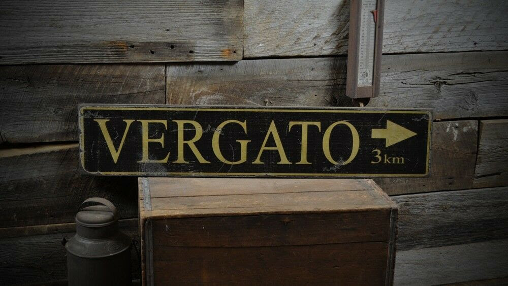 Wooden signs Rustic  Arrow Hand Italian italian Made Sign Distance rustic City Vintage