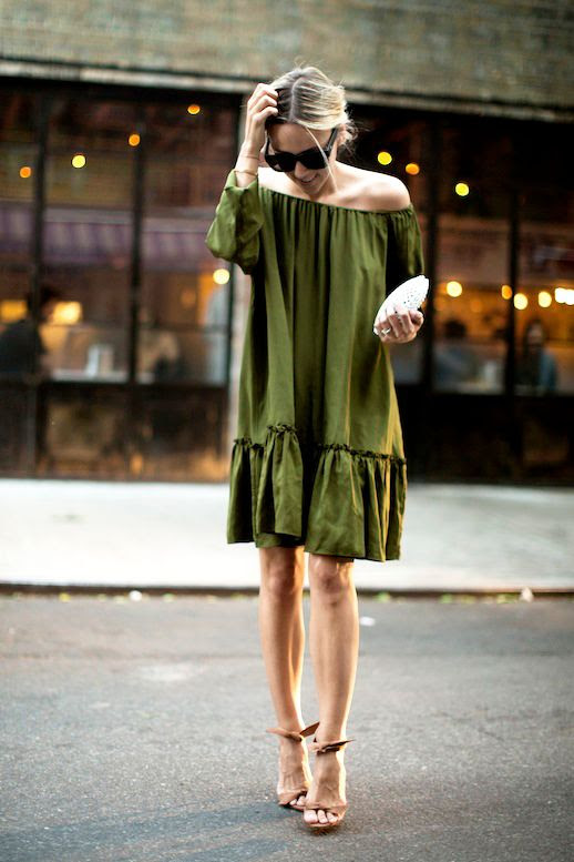 Le Fashion Blog Blogger Style Summer Date Night Look Sunglasses  Up Do Hair Green Off The Shoulder Dress Camel Ankle Tie Sandals White Clutch Sandals Via Damsel In Dior