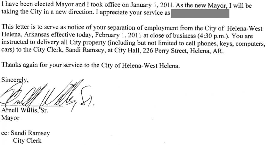 James Valleys Journal Mayor Willis Terminates 6 More Employees – Employment Separation Letter