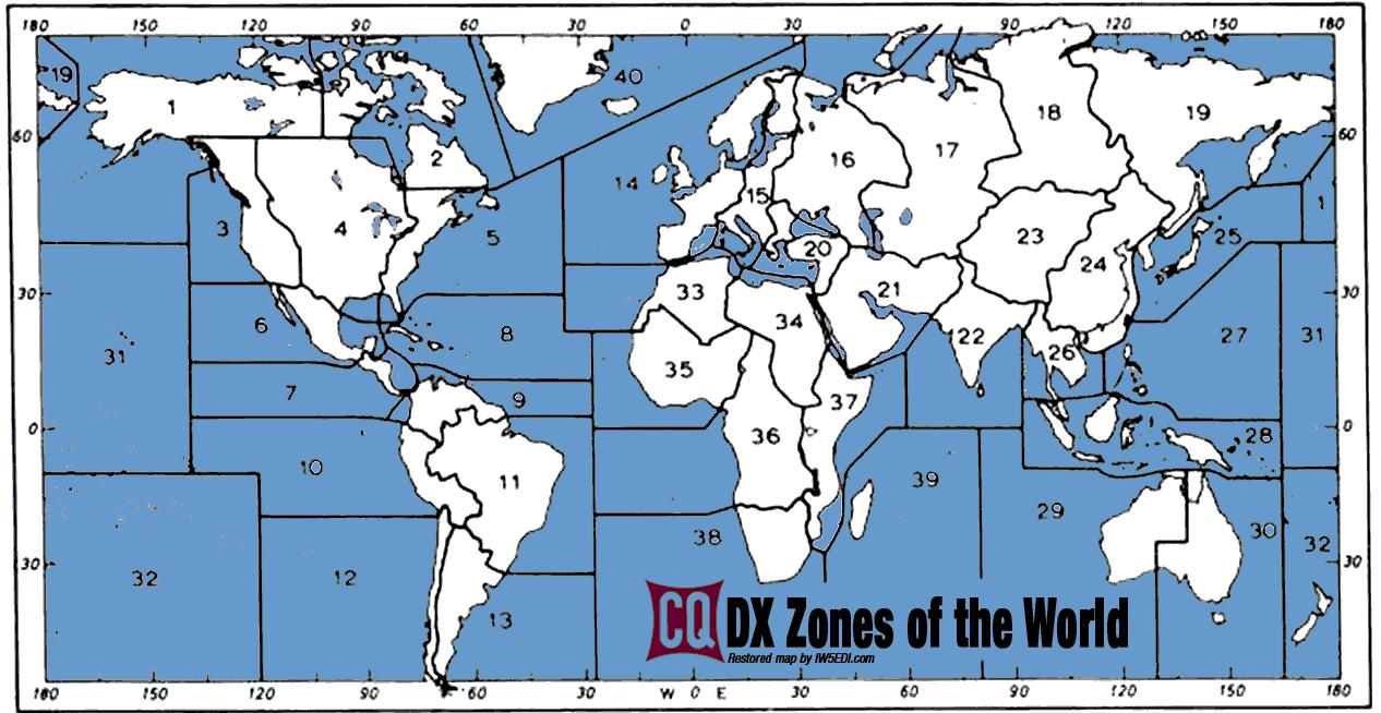 Cq Zones World Map   GOOGLESAND