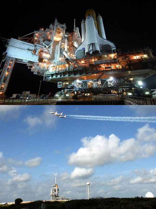 TOP PHOTO: Space shuttle Endeavour arrives at Launch Pad 39-A around 1:45 AM, PST, today.  SECOND PHOTO: The U.S. Air Force's Thunderbirds fly over Endeavour at its launch pad to commemorate NASA's 50th anniversary.  The flyby took place around 7:15 AM, PST, today.