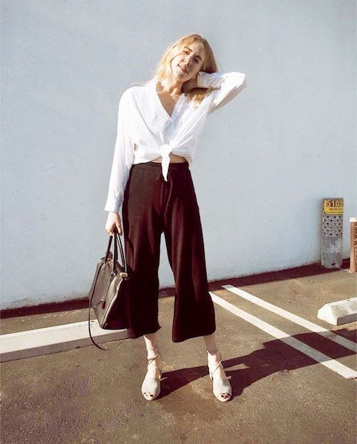 Le Fashion Blog Relaxed Look Tie Front White Shirt Loose Culottes Neutral Sandals Via @taylranne