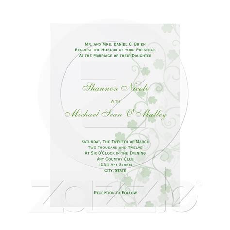 Clover Irish Wedding Invitation   Weddings