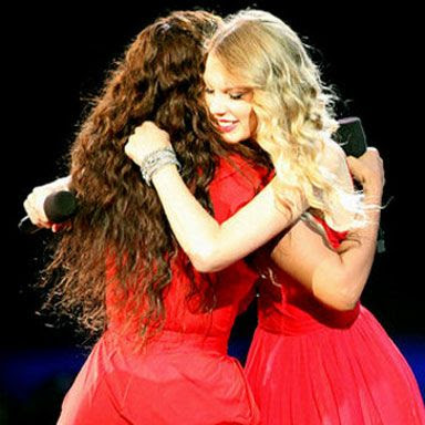 Beyonce and Taylor Swift at the 2009 VMAs.