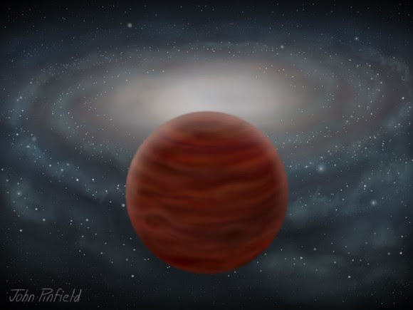 A brown dwarf from the thick-disk or halo is shown. Although astronomers observe these objects as they pass near to the solar system, they spend much of their time away from the busiest part of the Galaxy, and the Milky Way's disk can be seen in the background. Credit: John Pinfield