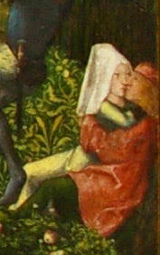 detail of the Archer's Feast by the Master of Frankfurt showing a couple sitting in the woods kissing