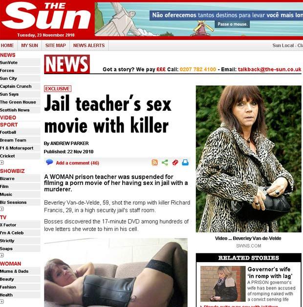 Beverley Van-de-Velde foi suspensa após vídeo pornô com preso.