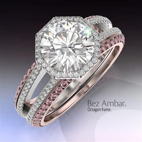 Diamond Engagement Ring Set  Octagon Frame