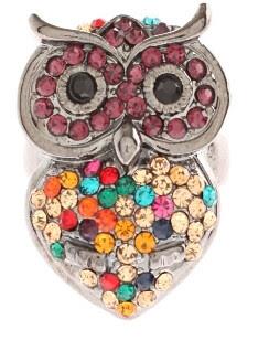amele diamante owl ring in silver multi 4.99