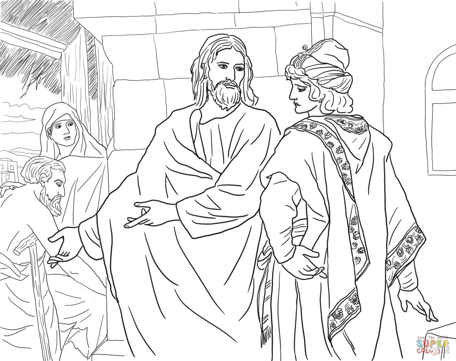 jesus and the rich young man by heinrich hofmann coloring page