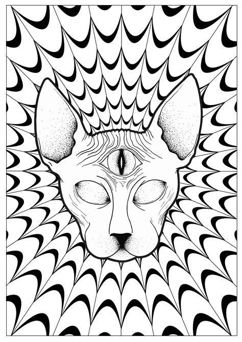 cat psychedelic sphynx psychedelic adult coloring pages