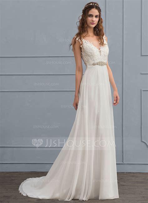 A Line/Princess V neck Court Train Chiffon Wedding Dress