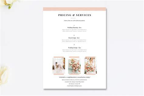 Wedding Planner Price List PSD ~ Flyer Templates