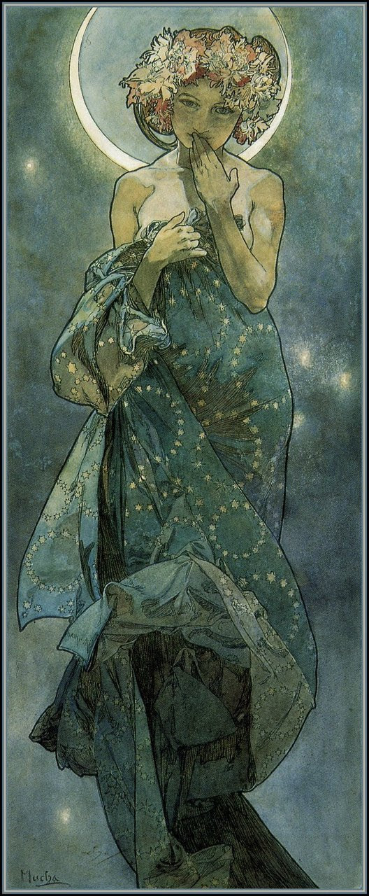 AuNatural: (vía lorilynn15, rainysanctuary) Alphonse Maria Mucha.  Les Etoiles / Claire de Lune.  1902.