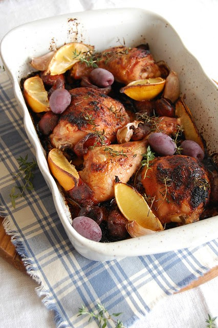 Chicken, chorizo and lemon bake / Frango assado com limão siciliano e chorizo