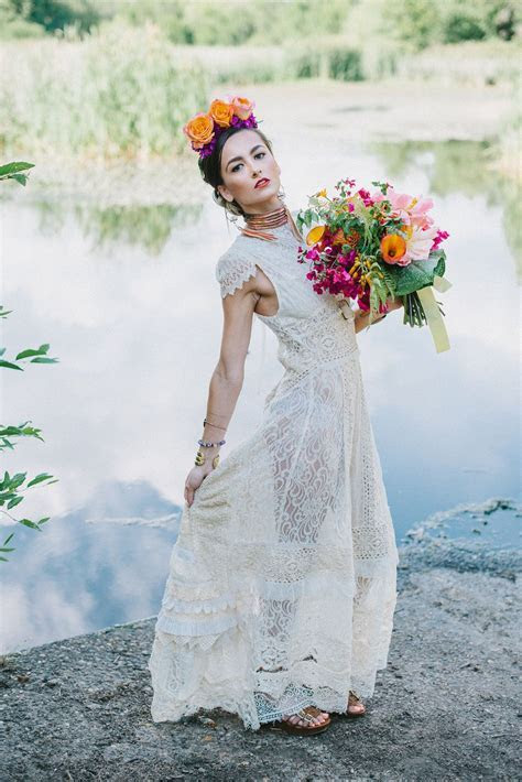 Upcycled Frida Kahlo inspired wedding dress by Crystena
