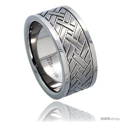 Titanium 9mm Wedding Band Ring Herringbone Pattern Comfort