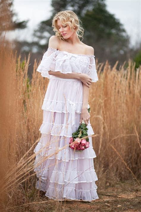 70s Senorita Ruffle Wedding Dress.Mexican Boho Maxi