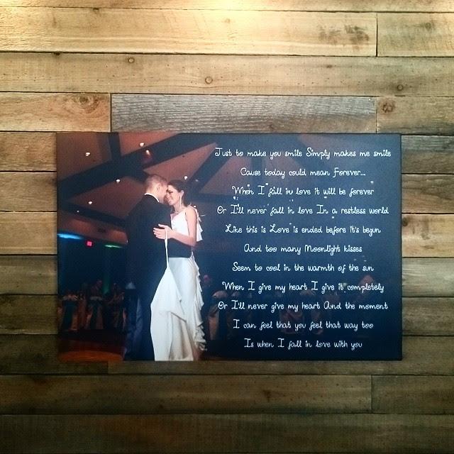 15 X 30 Wedding Canvas Print With First Dance Lyrics