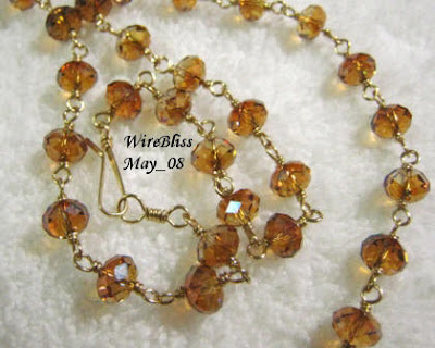Wire Wrapped Sparkly Necklace and Bracelet - Brown-themed