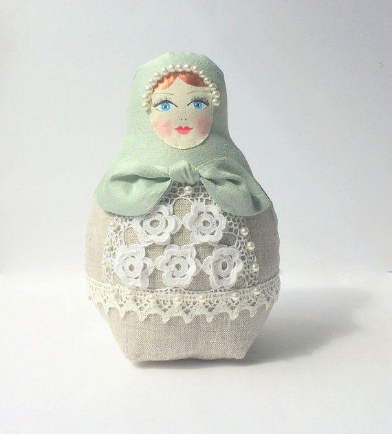 Babushka doll fabric doll Matryoshka russain by CherryGardenDolls