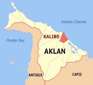 Map of Aklan showing the location of Kalibo