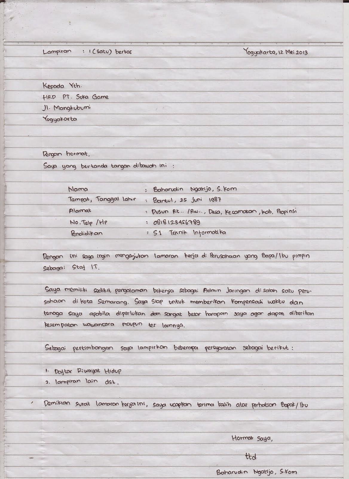 18 Contoh Surat Lamaran Kerja Terbaru Dan Lengkap Dengan Berbagai Jenisnya Mamikos Info