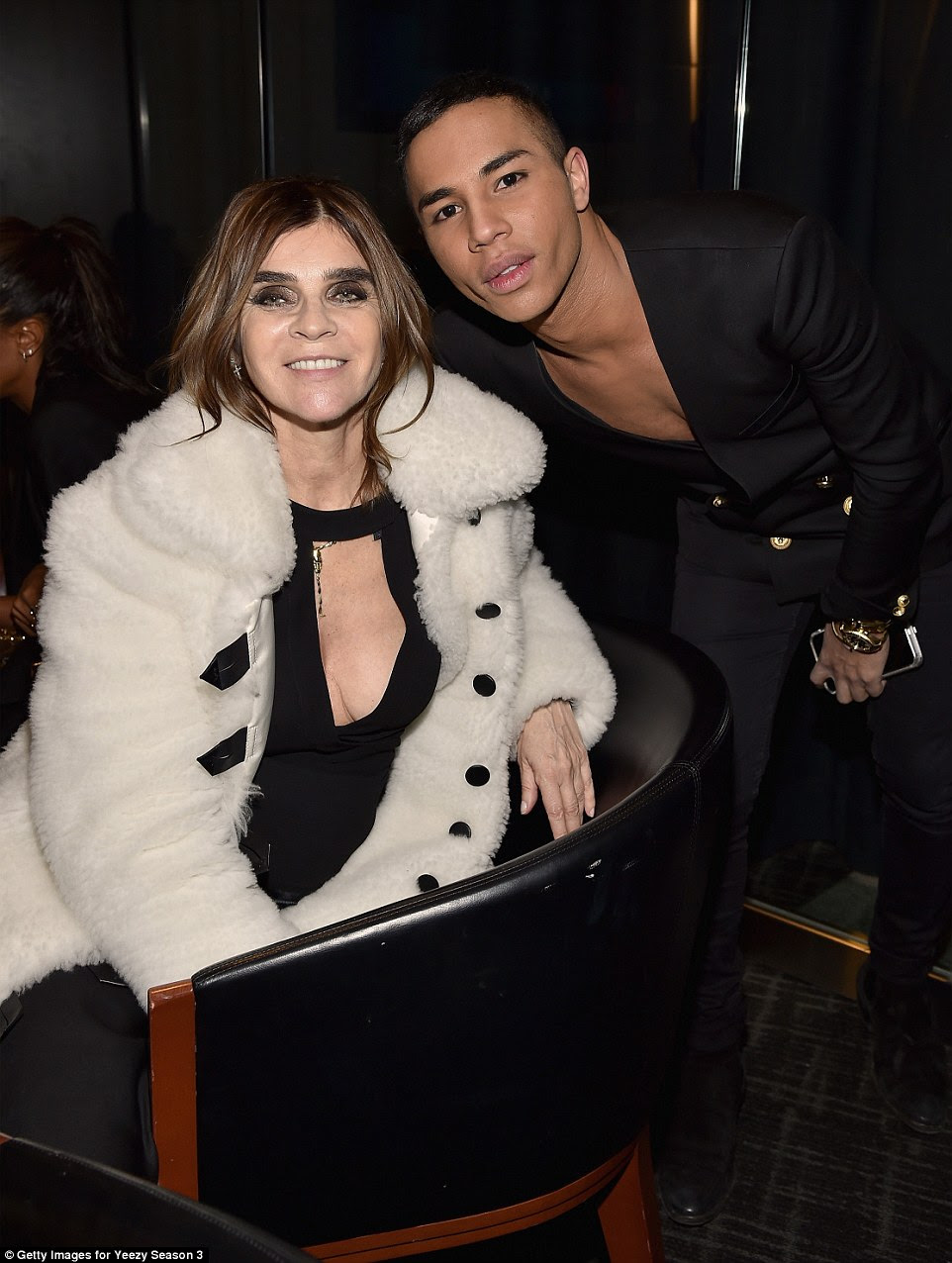 Style: Former editor-in-chief of French Vogue Carine and Balmain designer Olivier Rousteing caught up at the Yeezy show. Kanye thanked both of them onstage