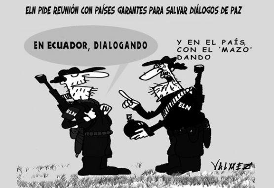 Caricatura sobre los diálogos del Gobierno y el Eln, con terrorismo de fondo