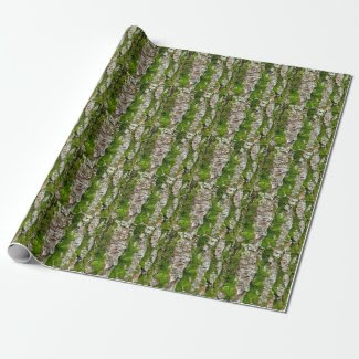Pine Tree Bark With Moss Wrapping Paper