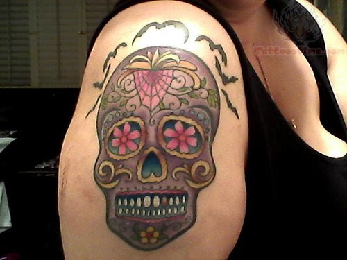 Sugar Skull Tattoo On Shoulder