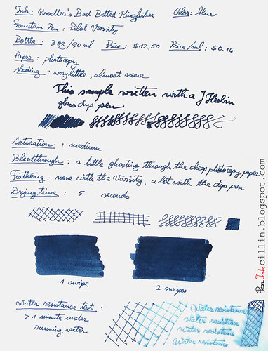 Noodler's Bad Belted Kingfisher photocopy
