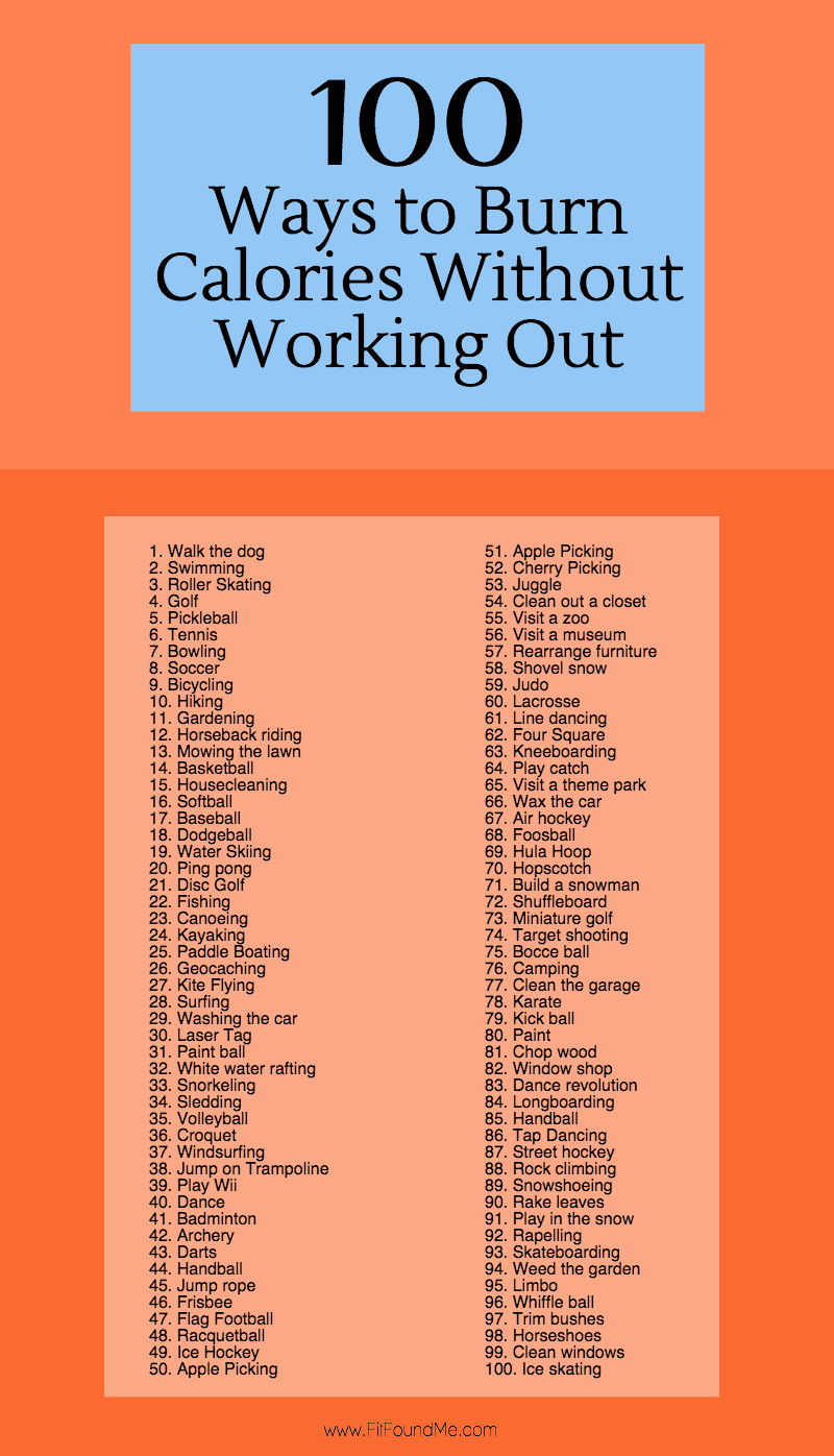 100 Ways to Burn Calories Without Working Out - Fit Found Me