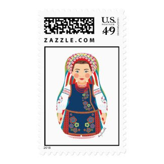 Ukrainian Girl Matryoshka Stamps