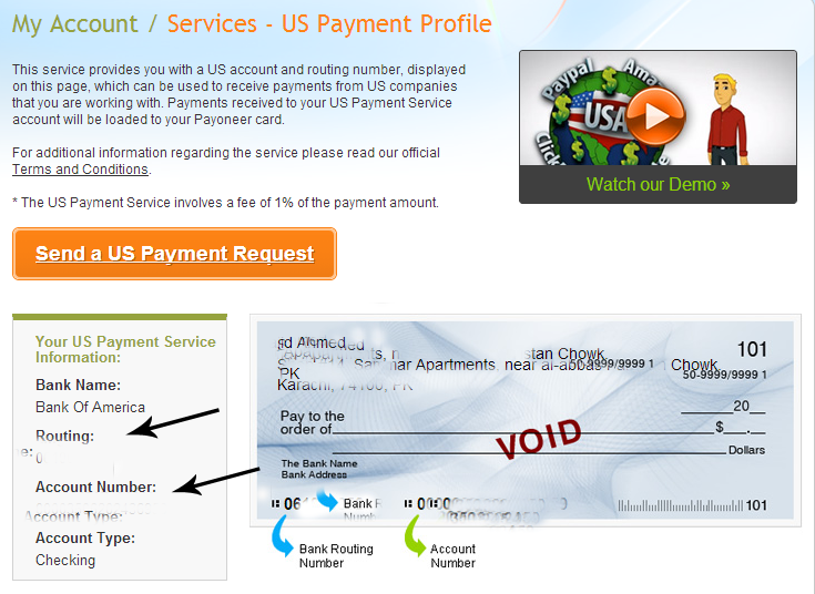 Routing and Account number Payoneer