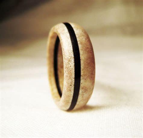 Deer Antler Ring   Bone Ring With Black Wood Veneer