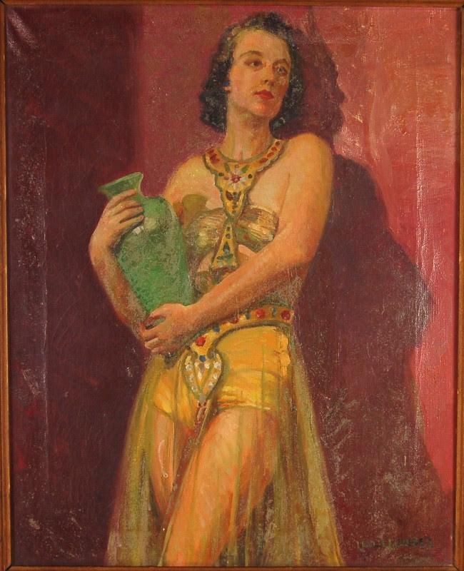 Depression Era Oil Painting Girl in Egyptian Dancer ...