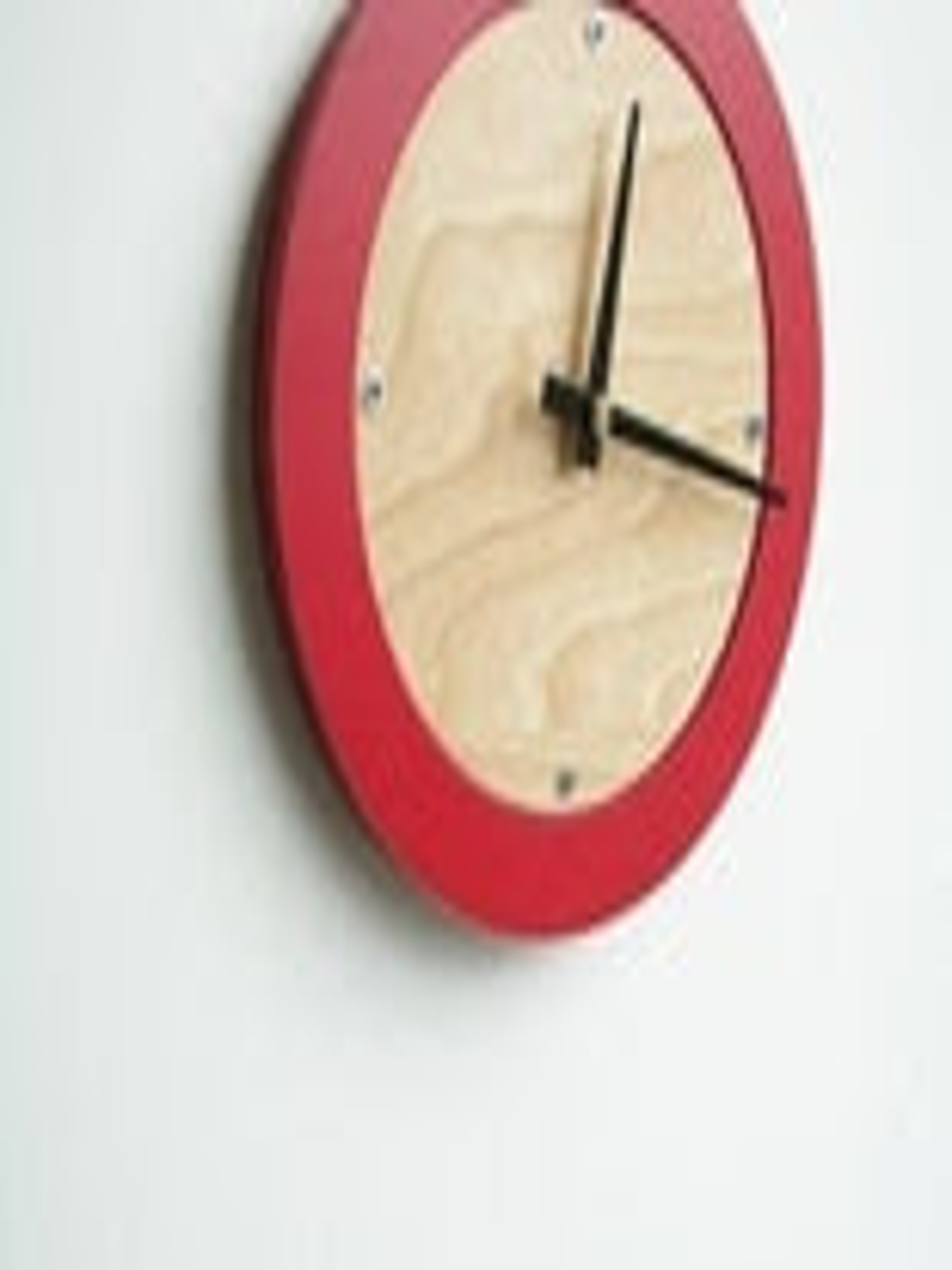 poppy red modern wall clock FREE SHIPPING