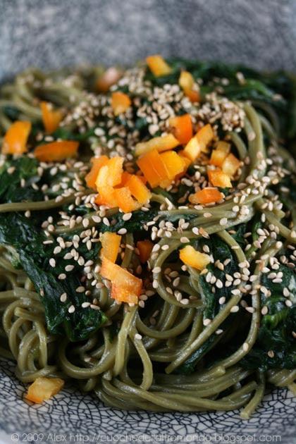 Cha soba agli spinaci