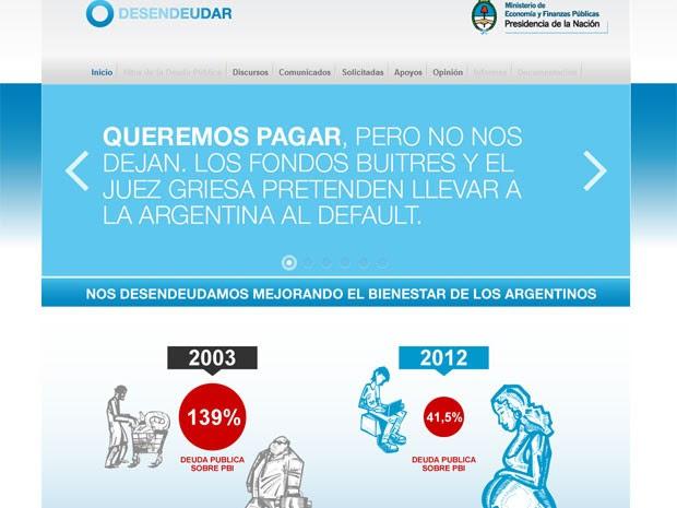 Governo argentino criou um site para dizer que quer pagar a dívida, desde que nos termos que considera justos (Foto: Reprodução)