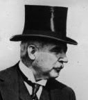 John Pierpont Morgan (J.P. Morgan), profile with                 top hat, 1928
