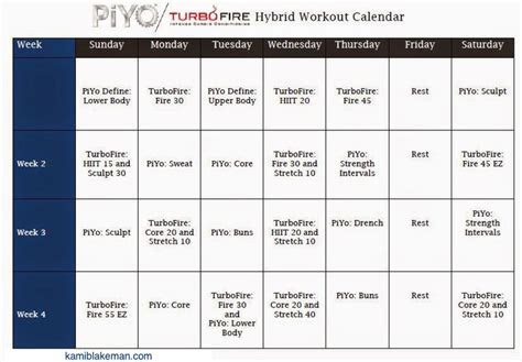 turbo firepiyo hybrid workout schedule fitness