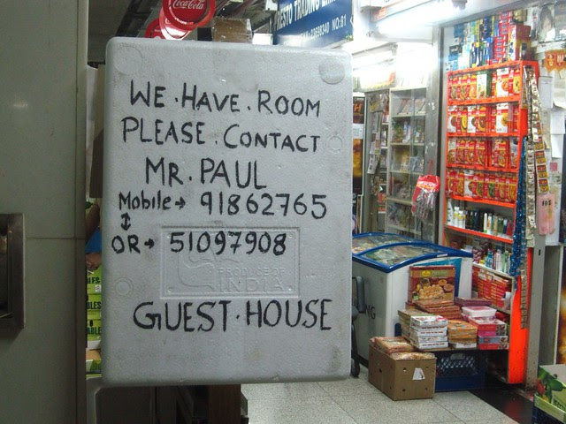 Guest house advertisement on styrofoam cooler lid, Chungking Mansions, Hong Kong