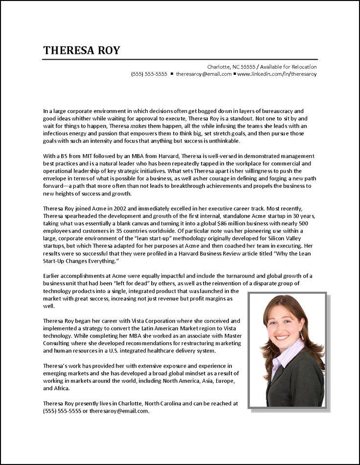 Executive Biography Example Business Development