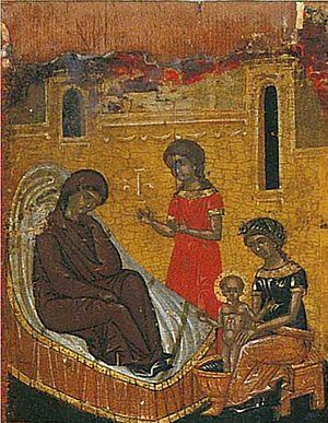 Χριστούγεννα του Αγίου Νικολάου.  Ένα θραύσμα του κρητική εικόνα του XV αιώνα
