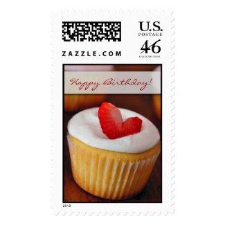 Happy Birthday Strawberry cupcake stamp